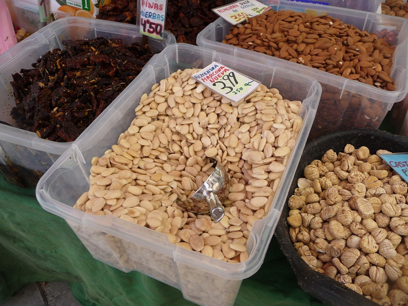 Almonds for sale in a vegetable and food market in Seville, not too far from the Cathedral.