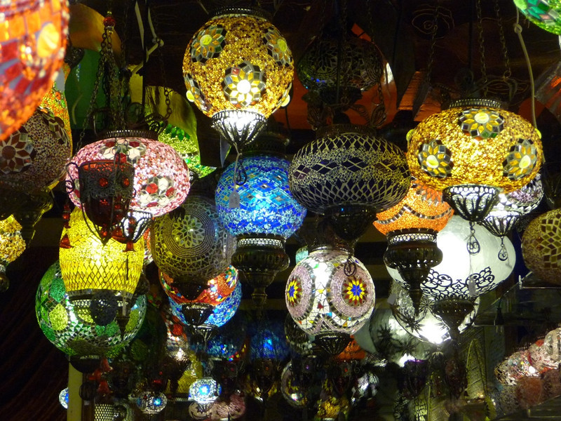 Lovely stained-glass lanterns at a shop in Granada