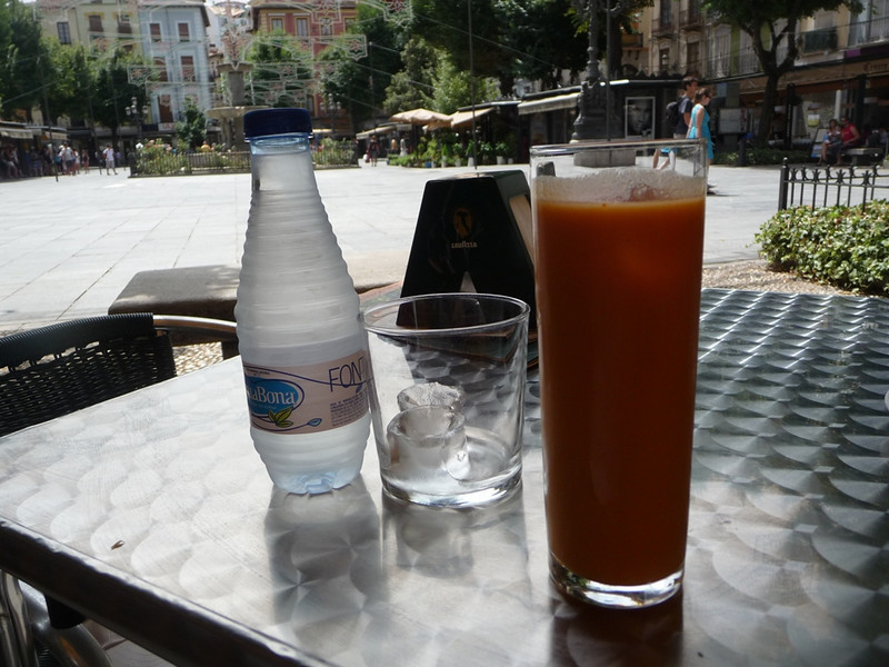 Water with ICE and gazpacho with ICE at a cafe in Seville!