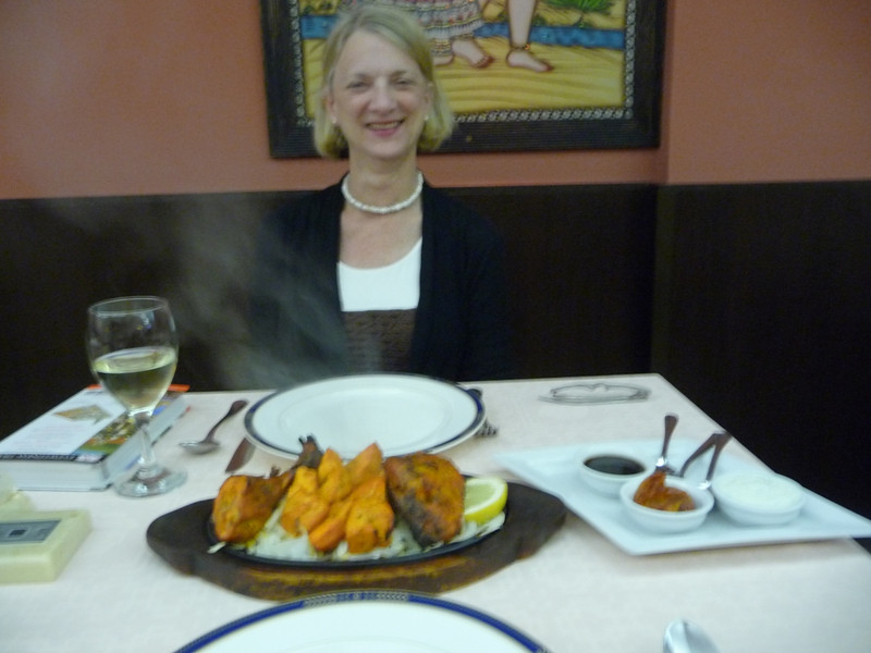 Susan at the Indian restaurant