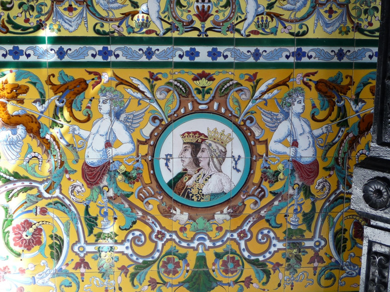 Beautiful tile mural in a building entryway