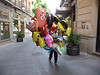 Balloon vendor on the street in Granada. It was largely deserted as this was late on a Sunday afternoon and most shops were closed. This was a different scene when we returned on a weekday!