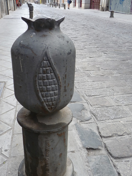 Pomegranates were everywhere on these street bumpers in Granada; the pomegranate is the city's symbol.