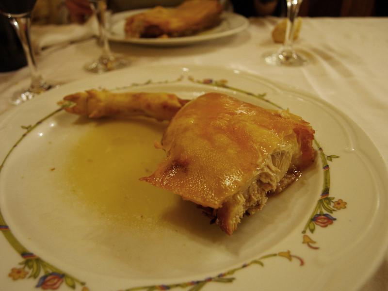 """Cochinillo de Segovia en el Restaurante """"El Sitio"""", manjar entre los manjares."""