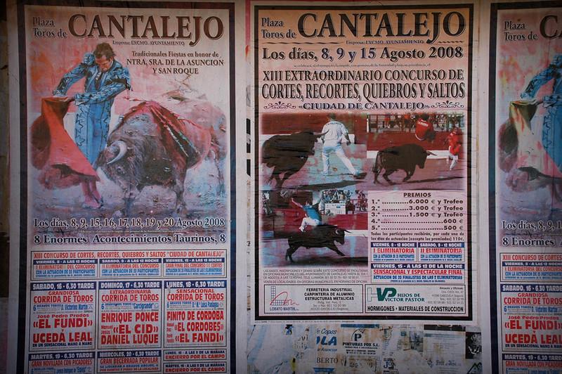 Bullfight ad in Segovia, Spain