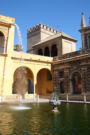 Sevilla - Real Alcázar - Jardín estanque de Mercurio