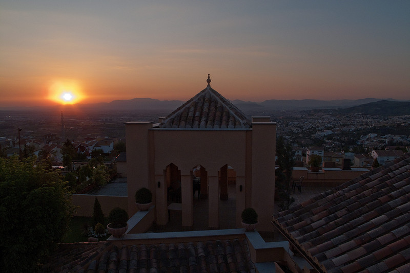 Sunset as viewed from our room overlooking Granada