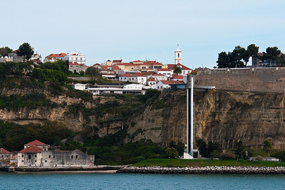 Departing Lisbon - note elevator to beach