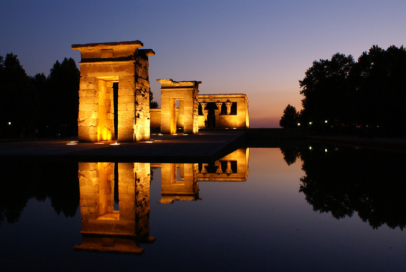 Temple Debod at sunset, Madrid