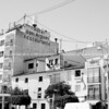 White Spanish architecture and sign for Hotel San Miguel, Altea, Alicante, Spain.