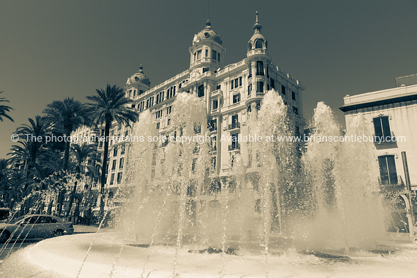 Fountain at end Esplanada, in Plaza puerta del Mar and Carbonell House Alicante Spain