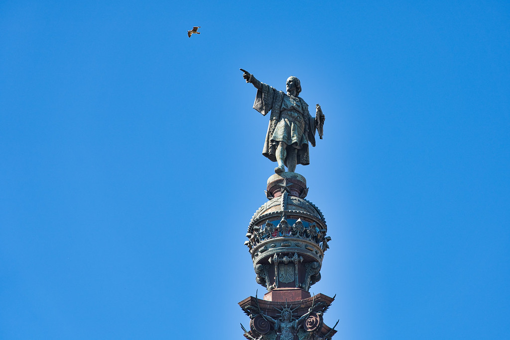 Christopher Columbus Statue Pointing Toward America
