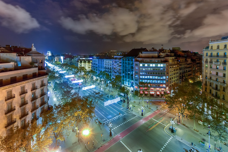 Passeig de Gracia at Night - Barcelona, Spain