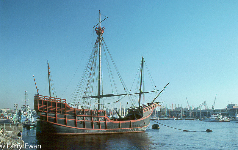 Replica of the Santa Maria in Barcelona Harbor, 1977