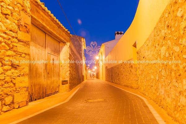 Nighttime in streets Lliber Spain