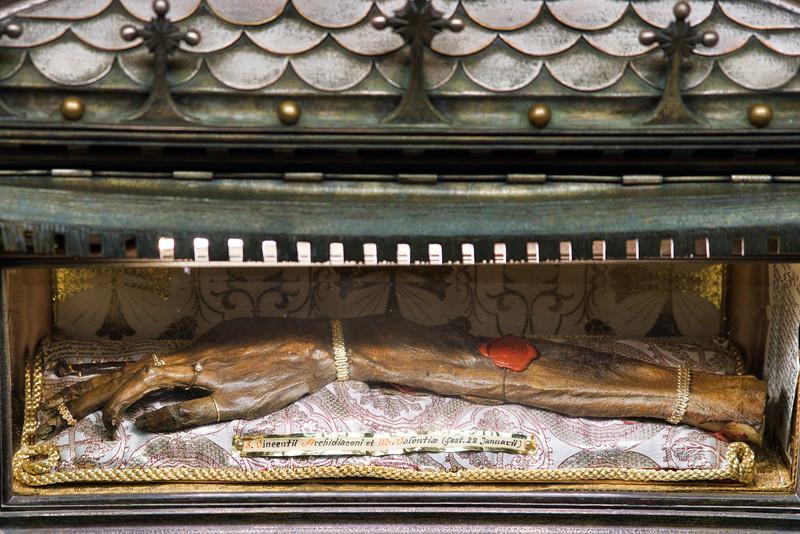 Preserved Arm of St. Vincent De Martir at Valencia Cathedral
