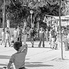 September 1979, Avenida de Regla, Chipiona, Andalusia.  Brian watching the people arrive to see the return of Nuestra Señorita de la Regla to the cathedral.  The final fling of the the annual tourist season.<br /> <br /> 6x6 Tri-X shot in a Yashicamat-124G
