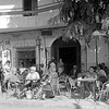September 1979.  Tourists from Sevilla and other inland cities enjoy their last weekend of summer at Bar la Campaña, Chipiona, Andalusia.<br /> <br /> 6x6 Tri-X shot in a Yashicamat 124G