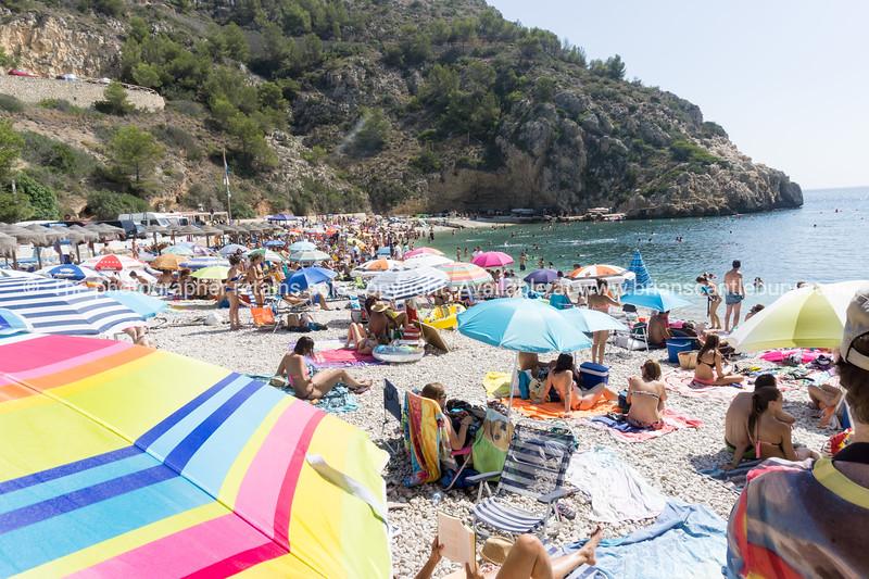 Beach in summer at La Granadella, Alicante, Jávea, Valencia, Spain
