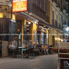 Night dining is sack lanes Alicante Spain street and building scene