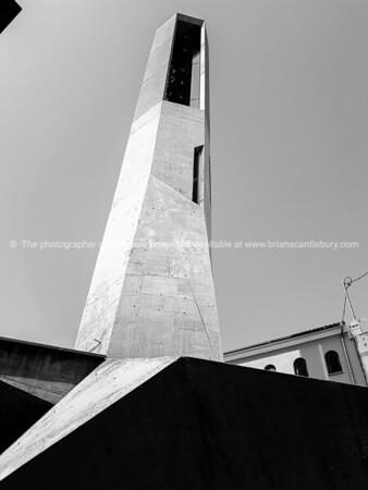 Concrete modern church bell tower in Murla Spain