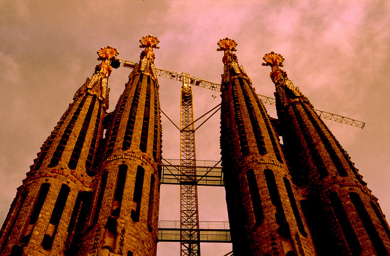 Sagrada Familia Cathedral under construction in Barcelona.