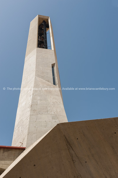 Modern architecture in concrete Murla modern style concrete bell tower, Costa Blanca, Spain