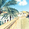 Retro image street in Spanish village