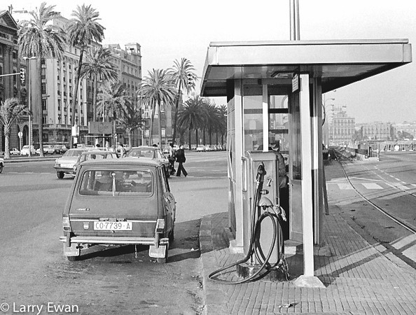 Gas Station, Barcelona. Circa 1977.<br /> Nikon F2, 50mm f/1.4 on Tri-X.