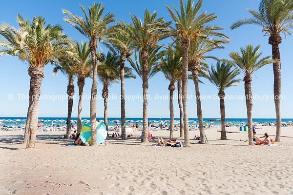 Summer Mediterranean beach scenes La Vila Joisa, Alicante Spain