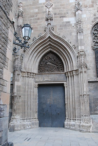 One of the cathedral doors in Barcelona