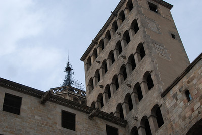 Tower of the retored goverment hall in Barcelona.  It was destroyed and rebuilt.