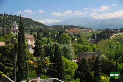 View of the Sierra Nevada mountains from the Alcazaba (fortress) of the Alhambra.  Granada, Spain.  4/10/2011