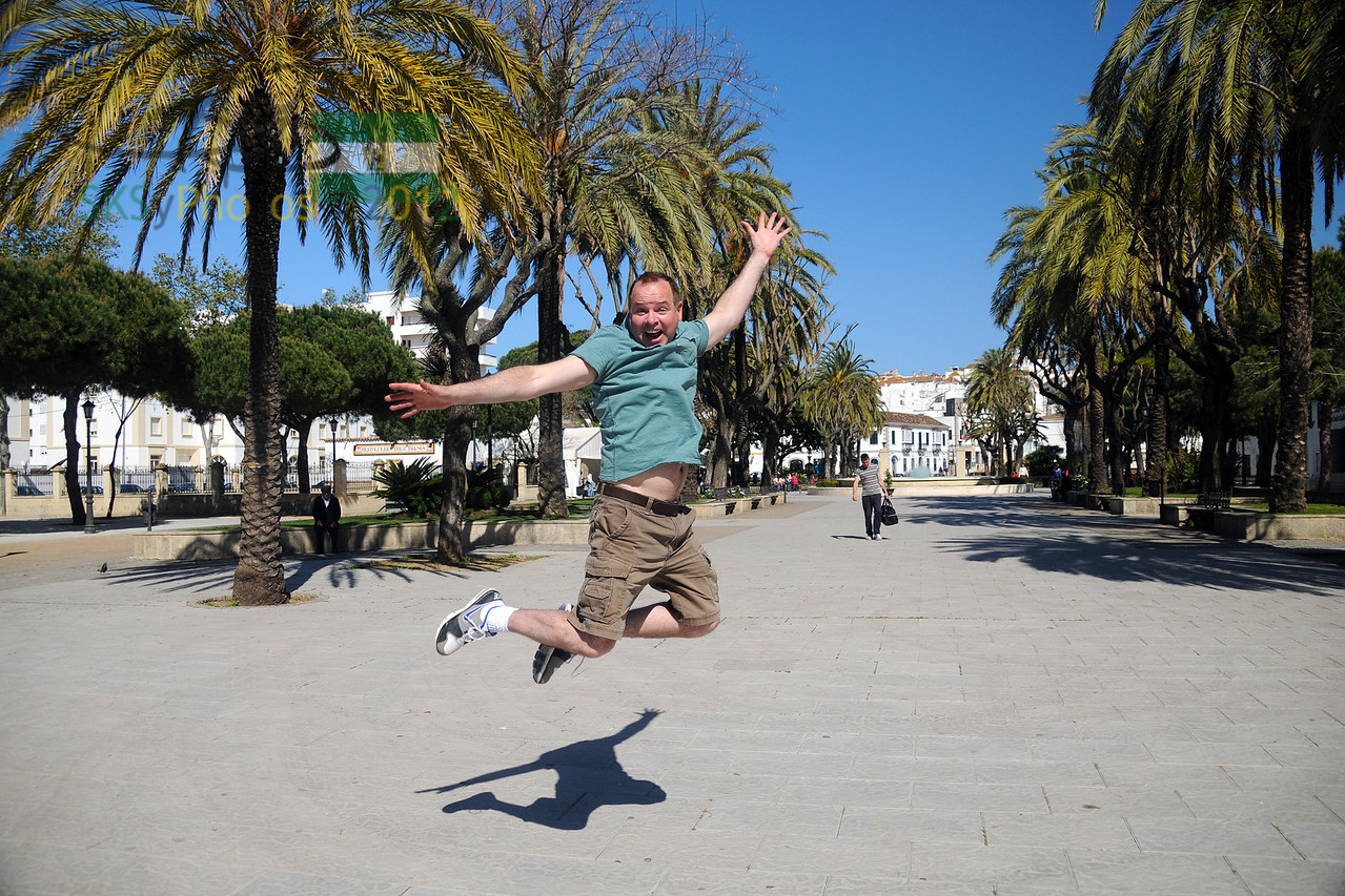 Leaping in plaza in San Roque, España.  April 8, 2011