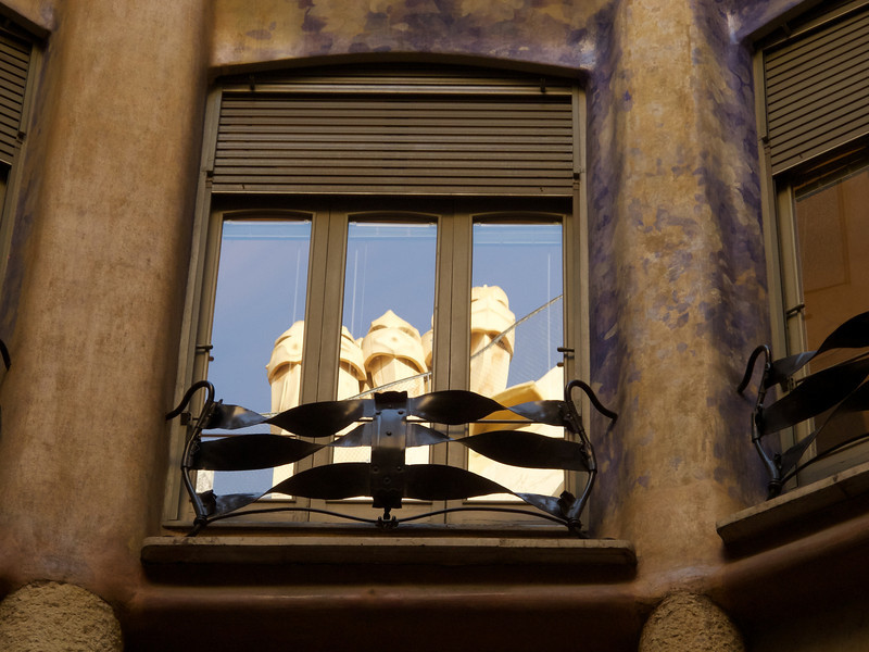 Gaudi's La Pedera apartment building - reflection of roof elements