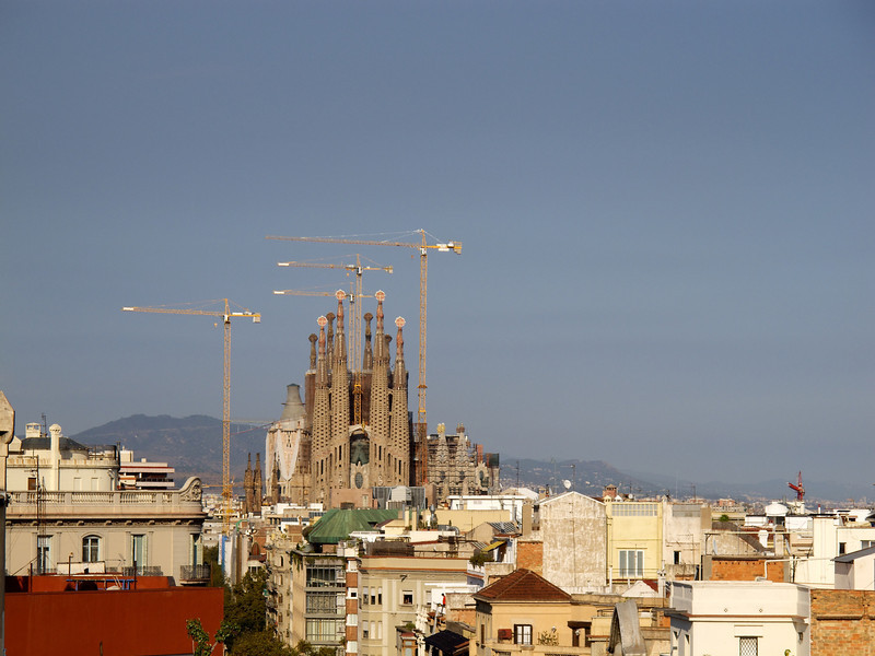Sagrada Familia from roof of La Pedera