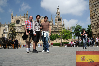 Shawn, Tony & Tomas in front of the Cathedral and Giralda (the tower) in Sevilla, España.  April 9, 2011
