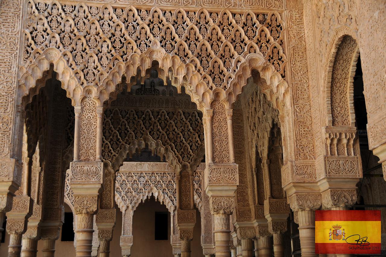 Patio de los Leones (Court of the Lions) in the Alhambra.  Granada, Spain.  April 10, 2011