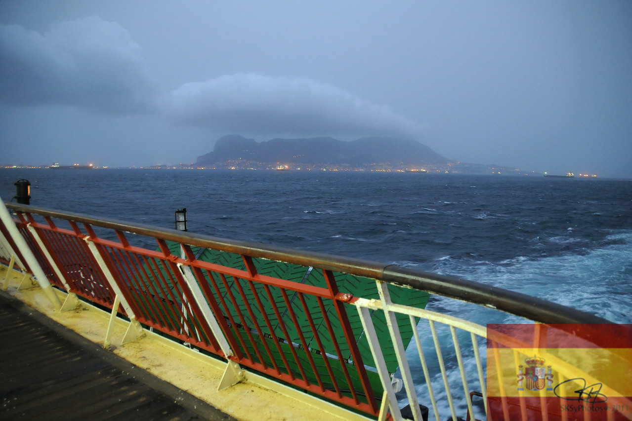 View of Gibraltar on the boat back from Tangiers, Morocco.  Departure and arrival in Algeciras, Spain.