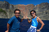 Makoto and Tomoko Takahashi in front of heart rock, Ogasawara Islands, Japan