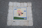 Funny art on a plaque in the ground, Ogasawara, Japan