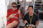 Lunch time aboard the Dancing Whale: Douglas Seifert and Tony Wu