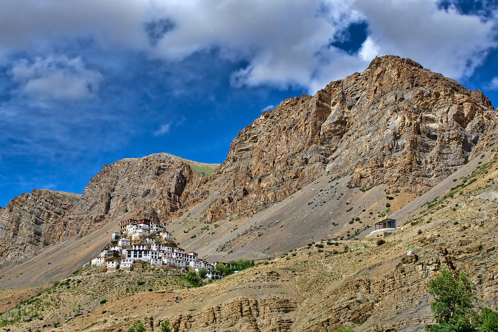 Ki Monastery sits on a crest in the valley.