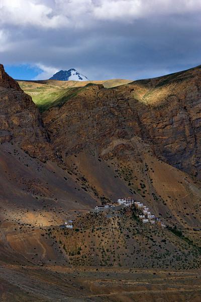 "Ki Monastery on a crest, with ""Chau Chau Kang Nilda"" mountain sitting majestically in the background."