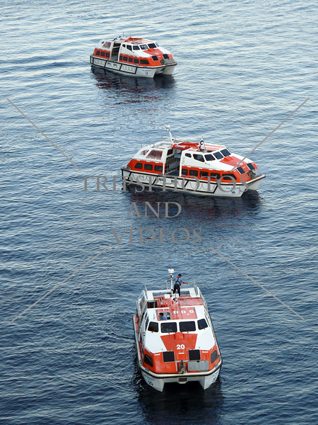 Cruise ship boats getting ready to tender passengers to the port of Split, Croatia.