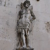 Image molded on a front wall of the clock tower building in Trogir, Croatia.