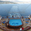 Cruise ship sails away from the port of Split, Croatia.