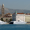 A view of the city and the port of Split, Croatia.