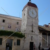 Clock tower at city square in Trogir, Croatia.