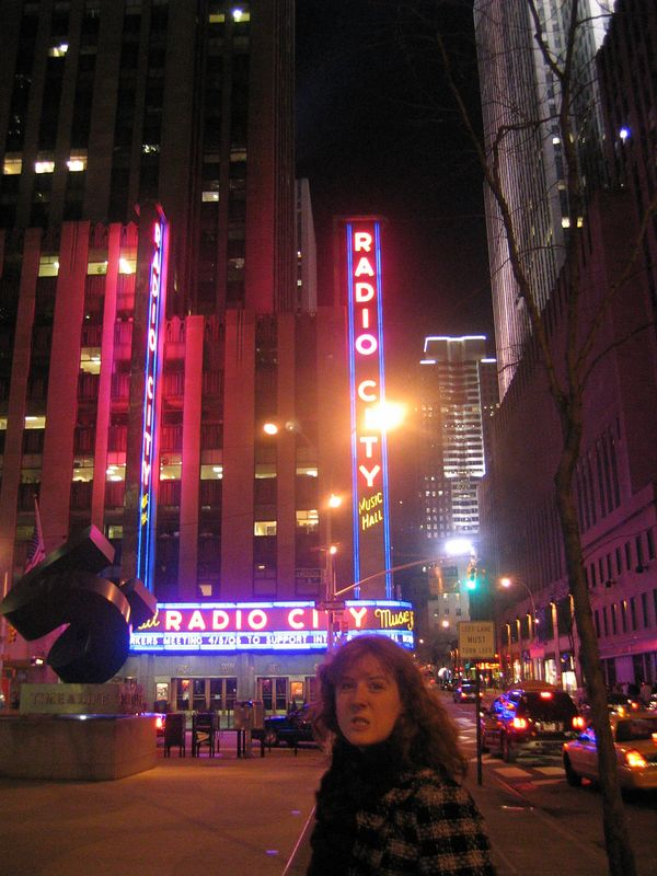 Darien messing up my picture of Radio City Music Hall.